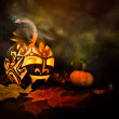 Halloween pumpkin on black background — Stock Photo #33376795
