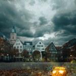 Halloween pumpkin in historical german town — Stock Photo