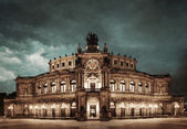 Dresden Opera Theatre at night — Stock Photo