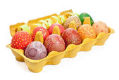 Crate with Easter Eggs isolated on white — Stock Photo