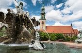 Neptin fountain in front of Marienkirche — Stock Photo