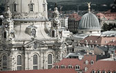 Closeuop on Frauenkirche and roofs of Dresden — Stock Photo
