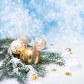 Adornos de Navidad oro — Foto de Stock