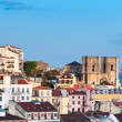 Towers of Lisbon Cathedral and roofs of Lisbon — Stock Photo
