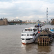 London, boats on Thames river — Stock Photo