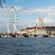 London Eye from across the river — Stock Photo
