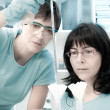 Two female scientists working — Stock Photo