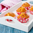 Muffins on a tray — Stock Photo