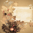 Autumn paper frame made of natural materials — Stock Photo