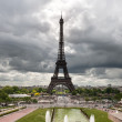 Paris, Eiffel Tower on a gloomy day — Stock Photo