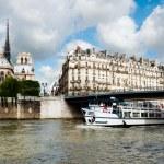 Paris, passenger boat on river Seine — Stock Photo