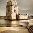 aged photo of belem tower in lisbon — Stock Photo