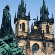 Monument in front of St Mary Church in Prague — Stock Photo
