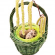 Quail eggs in Easter basket — Stock Photo