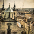 Churches and roofs of Old Prague, aged photo — Stock Photo