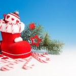 Santa's boot and Xmas decorations — Stock Photo #33387345