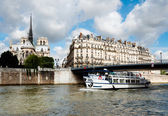 Paris, passenger boat on river Seine — Stock Photo