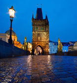 Charles Bridge at night — Stockfoto