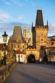 Charles bridge in Prague early morning — Stock Photo