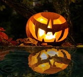 Halloween pumpkin at night — Stock Photo