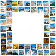 Frame made of travel pictures — Stockfoto
