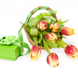 Green gift box and tulips on white background — Stock Photo