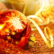 Stock Photo: Red and golden Christmas decorations