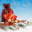 Christmas decorations and wrapped gifts — Stock Photo