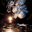 Christmas decorations with a candle — Stock Photo