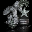 Silver Christmas decorations — Stock Photo