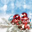 Stock Photo: Christmas decorations on abstract background