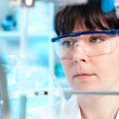Stock Photo: Young scientist works in lab