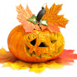 Halloween pumpkin with autumn leaves — ストック写真