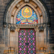 Side entrance door of St. Peter and Paul church in Vysehrad — Stock Photo