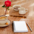 Notebook with pen and morning coffee — Stok fotoğraf