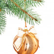 Ornate Xmas bell on fir twig isolated on white — Stock Photo