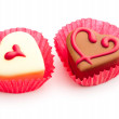 Valentine chocolates isolated on white — Stock Photo