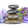 Aromatic lavender soap and pebbles — Stock Photo #33482023