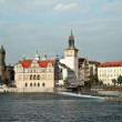 Old Prague, riverbank with Novotneho Lavka — Stockfoto