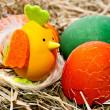 Stock Photo: Easter eggs, eggshell and hatched chicken