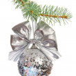 Sparkling Xmas ball on white background — Photo