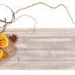 Stock Photo: Wooden board with winter decorations