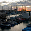 coralejo harbor early morning — Stock Photo