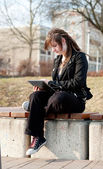 Girl with touchpad pc — Stock Photo
