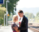 Farewell on train station — Stock Photo