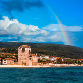 Rainbow over Ouranopolis by Holy Mount Athos — Stock Photo