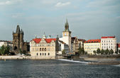 Old Prague, riverbank with Novotneho Lavka — Stock Photo
