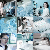 Scientists at work, collage — 图库照片