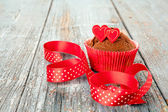 Decorated chocolate cupcake — Stock Photo