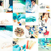Research environment and workers, collage — Stock Photo